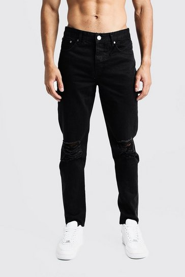 Mens Black Tapered Fit Denim Jeans With Ripped Knee