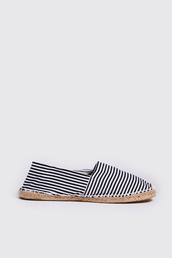 Mens Black Stripe Canvas Espadrilles