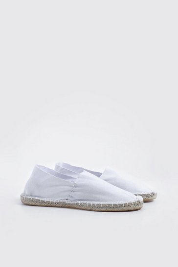 Mens White Slip On Canvas Espadrille