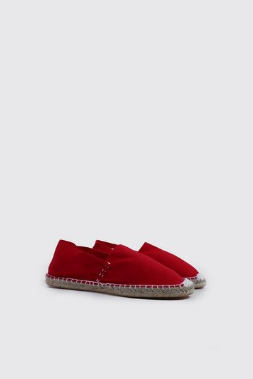 Mens Red Slip On Canvas Espadrille