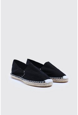 Mens Black Slip On Canvas Espadrille