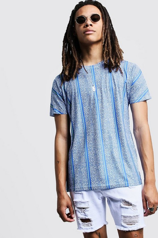 Mens Blue Blue Animal Print Stripe T-Shirt