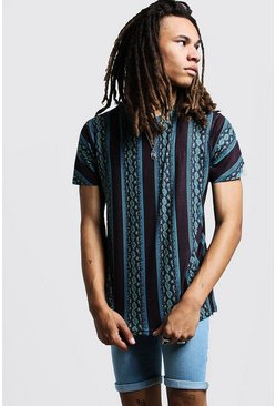 Mens Black Snake Print Stripe T-Shirt