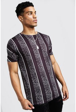 Mens Black Snake Stripe Print T-Shirt