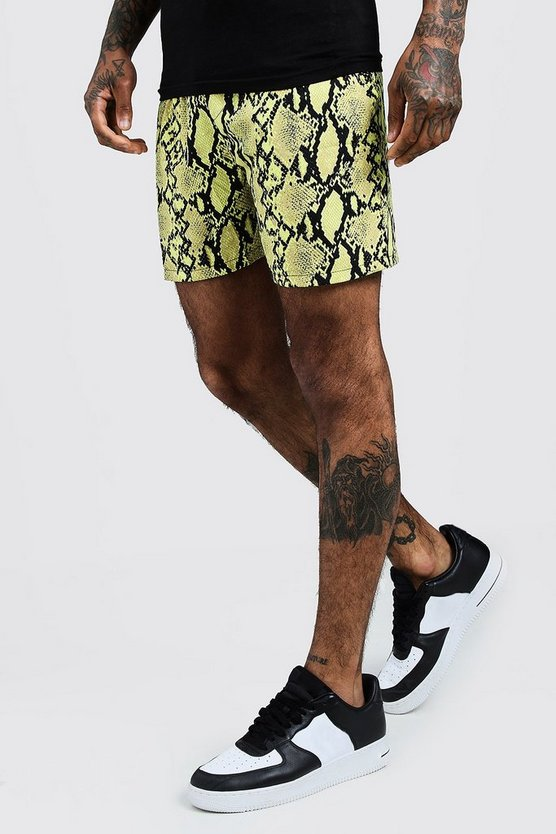 Mens Yellow Printed Neon Snake Mid Length Short