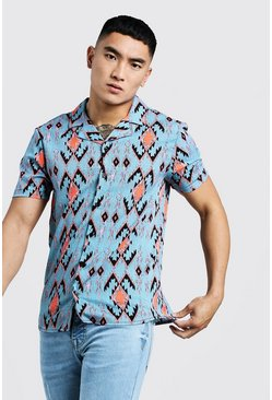 Mens Grey Printed Aztec Short Sleeve Revere Shirt