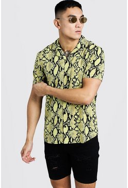 Mens Yellow Printed Neon Snake Short Sleeve Shirt