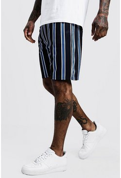 Mens Navy Stripe Detail Mid Length Short