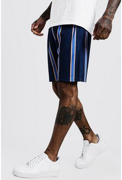 Mens Navy Wide Set Stripe Mid Length Short
