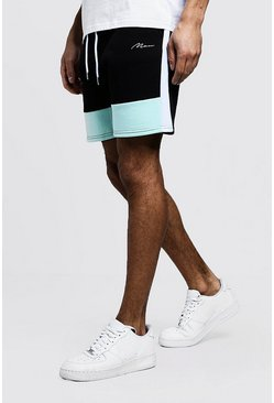 Mittellange MAN Shorts im Colorblock-Design, Aquablau, Herren
