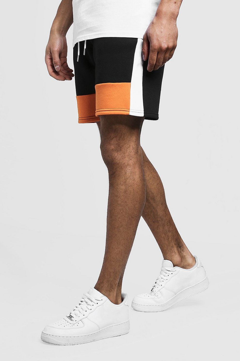 e6a74e7fc0 Mens Orange Colour Block MAN Mid Length Short