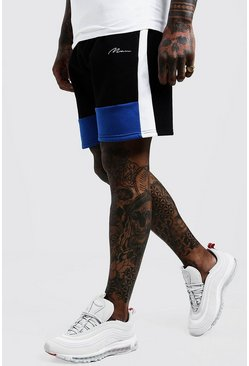 Mens Cobalt Colour Block MAN Mid Length Shorts
