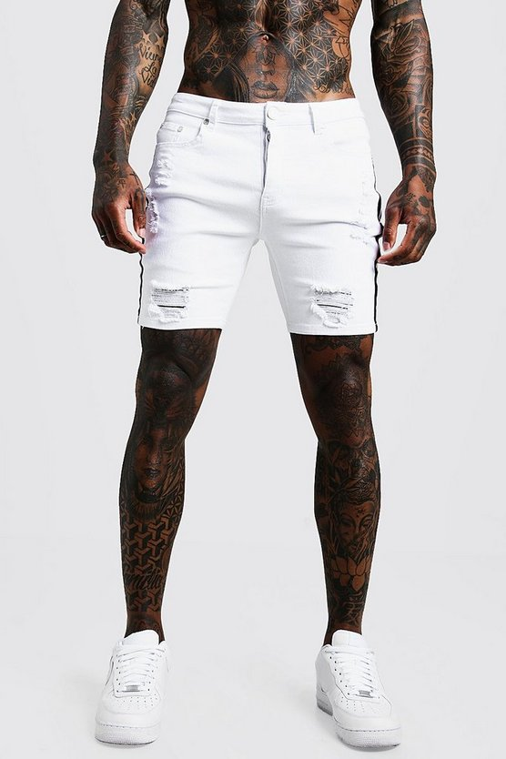 Mens White Skinny Fit Distressed Shorts With Side Tape