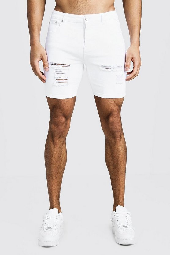 Mens White Skinny Fit Denim Shorts With Distressing