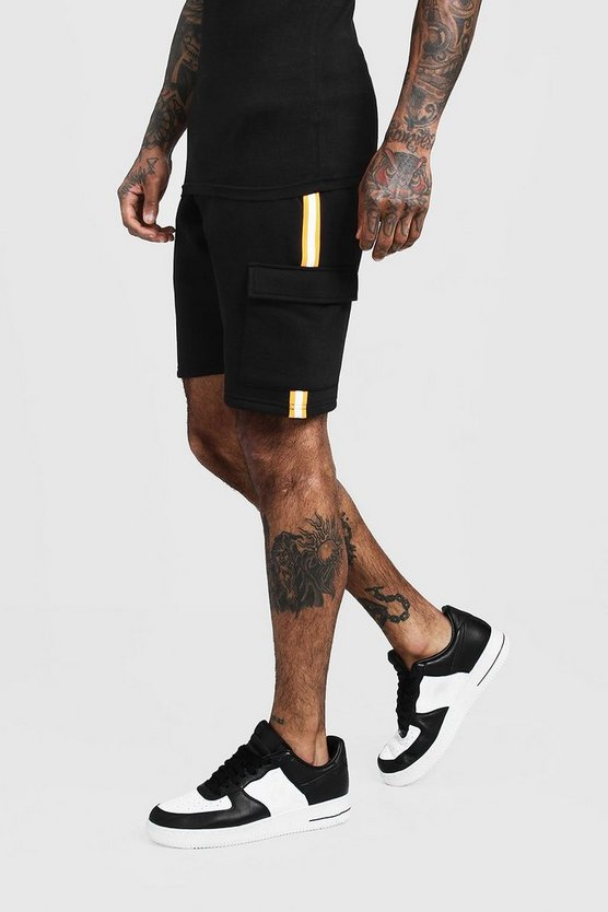 Mens Black Neon Taped Cargo Mid Length Shorts