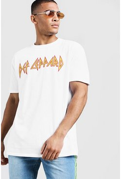 Mens White DEF Leopard Logo Oversized License T-Shirt