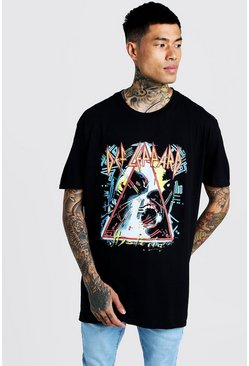 Mens Black DEF Leppard License Oversized T-Shirt