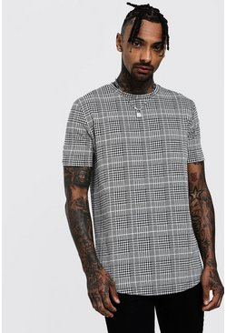 Mens Black Longline Houndstooth Check T-Shirt
