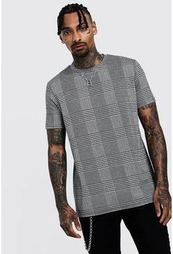 Mens Black Houndstooth Check T-Shirt With Curve Hem