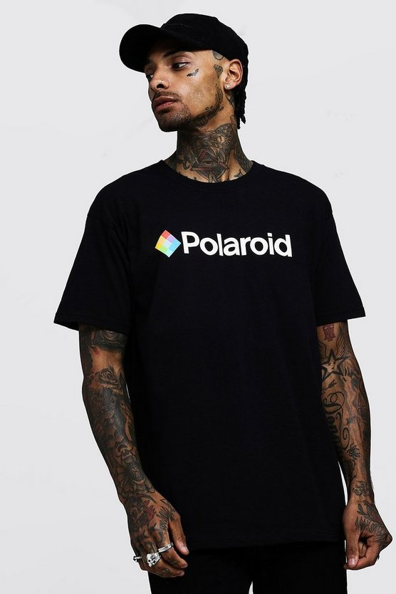 Mens Black Polaroid Oversized License T-Shirts