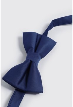 Mens Navy Silk Look Bow Tie