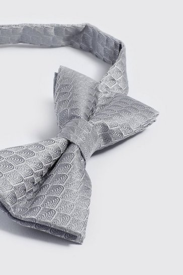 Mens Silver Wave Pattern Bow Tie