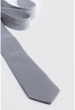 Mens Pale grey Textured Tie