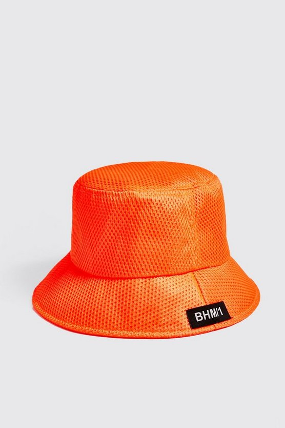 Mens Neon-orange BHM1 Woven Tab Mesh Bucket Hat