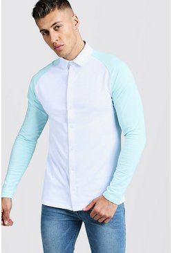 Mens Aqua Long Sleeve Jersey Shirt With Contrast Raglan