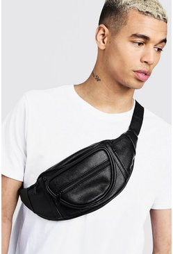 Mens Black 3D Front Pocket Faux Leather Bum Bag
