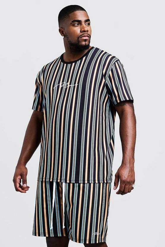 Mustard Big & Tall MAN Stripe T-Shirt & Short Set