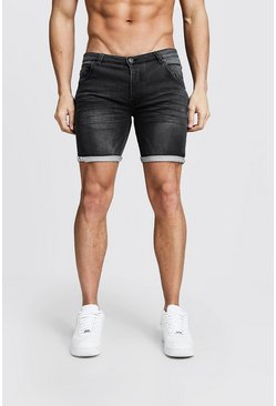 Skinny Fit Denim-Shorts aus Jersey mit Webkante, Anthrazit, Herren