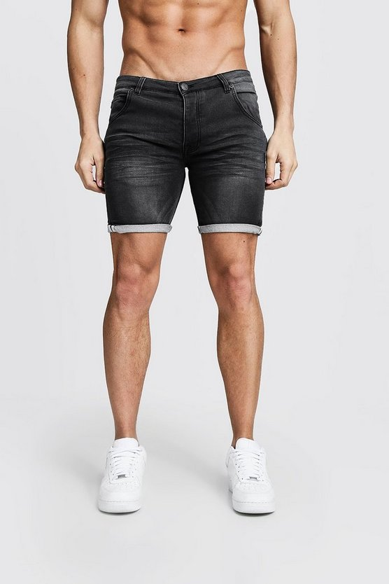 Mens Charcoal Skinny Fit Jersey Denim Shorts With Selvedge
