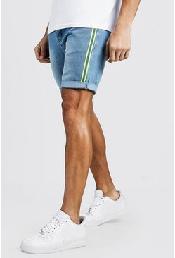 Short en denim slim fit con cintas reflectante, Lavado vintage, Hombre