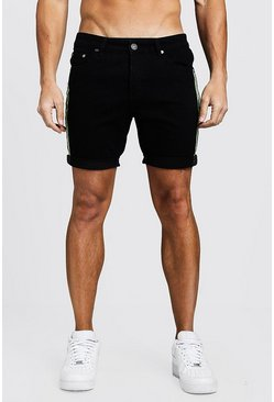 Short en denim slim fit con cintas reflectante, Negro, Hombre