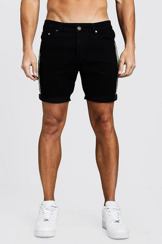 Mens Black Slim Fit Denim Shorts With Reflective Tape
