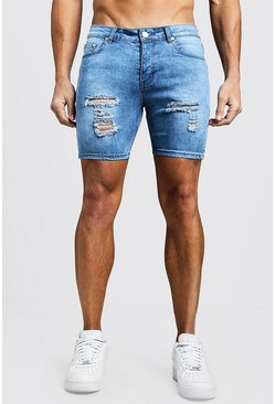 Mens Washed blue Skinny Fit Denim Shorts With Distressing
