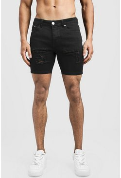 Mens Black Skinny Fit Denim Shorts With Distressing