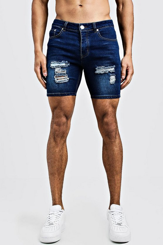 Mens Dark blue Skinny Fit Denim Shorts With Distressing