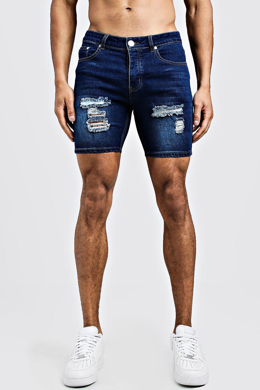 4b66b53758e93 Skinny Fit Denim Shorts With Distressing | Boohoo