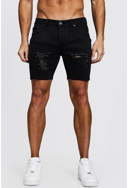 Charcoal Skinny Fit Denim Shorts With Distressing