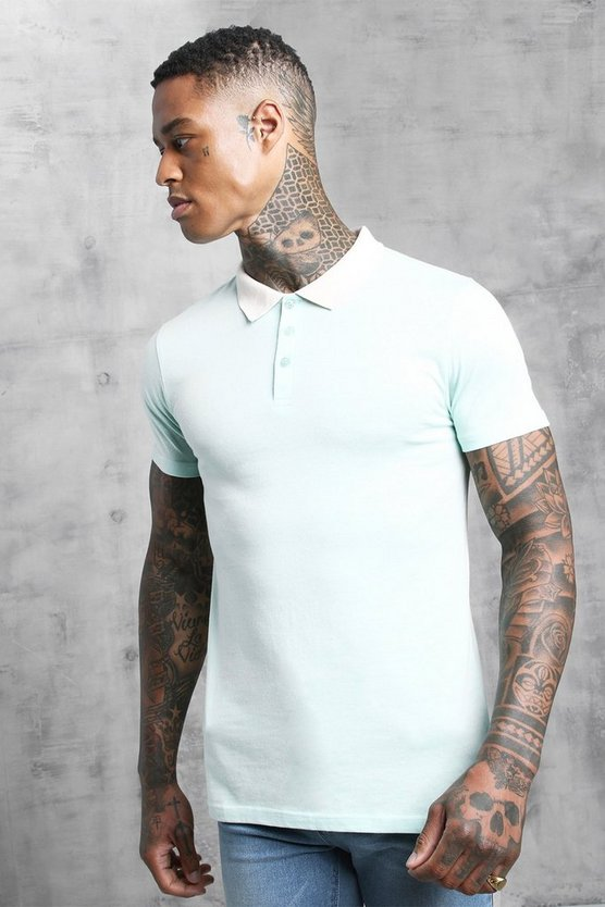 Mens Aqua Muscle Fit Contrast Collar Polo