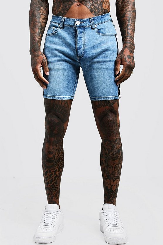 Mens Wash blue Skinny Fit Denim Shorts With Tape Detail