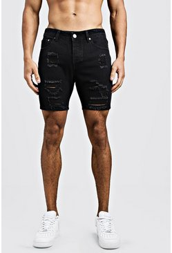Mens Washed black Slim Fit Heavily Distressed Denim Shorts