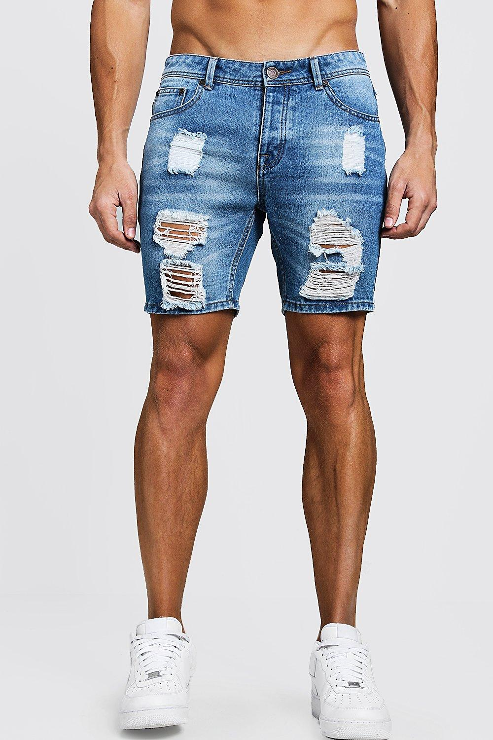 Mens Light blue Slim Fit Heavily Distressing Denim Shorts