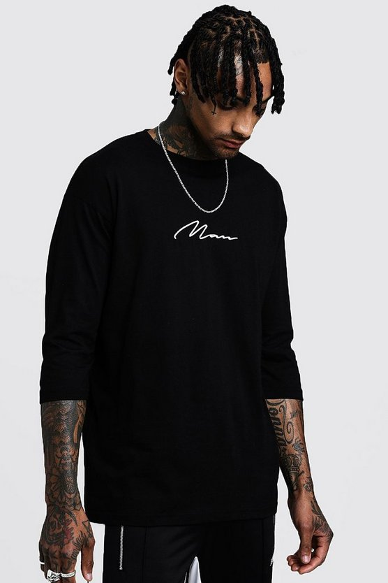 Mens Black MAN Signature 3/4 Sleeve T-Shirt