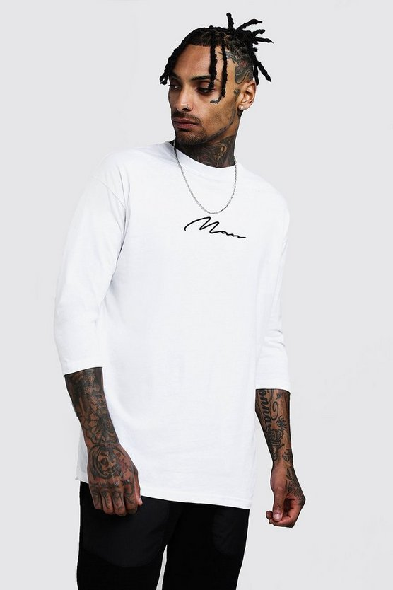 Mens White MAN Signature 3/4 Sleeve T-Shirt