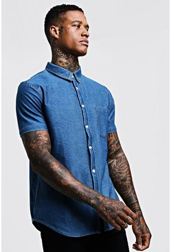 Mens Blue Short Sleeve Denim Shirt In Muscle Fit