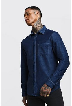 Herr Indigo Long Sleeve Denim Shirt