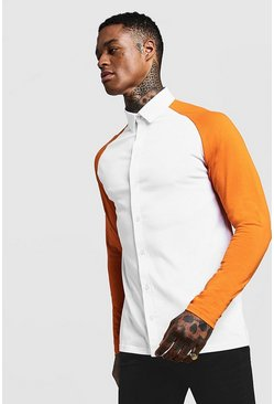 Mens Orange Long Sleeve Jersey Shirt With Contrast Raglan